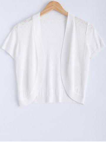 Short Sleeve Ribbed Knitted Cardigan For Women