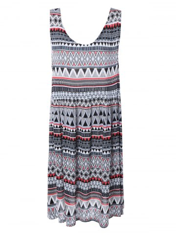 Unique Bohemian Sleeveless Tribal Print Pleated Dress