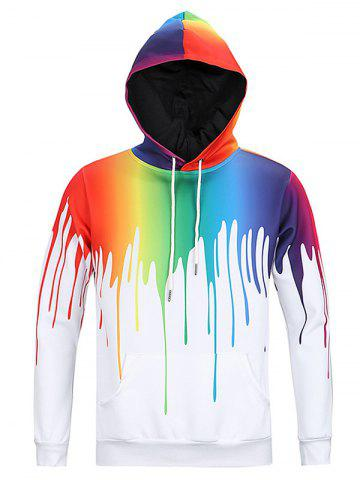 Latest New Look Paint Splash Print Long Sleeve Hoodie For Men WHITE 3XL