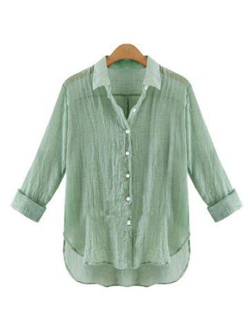 Affordable Gauzy Pure Color High Low Shirt For Women GREEN XL