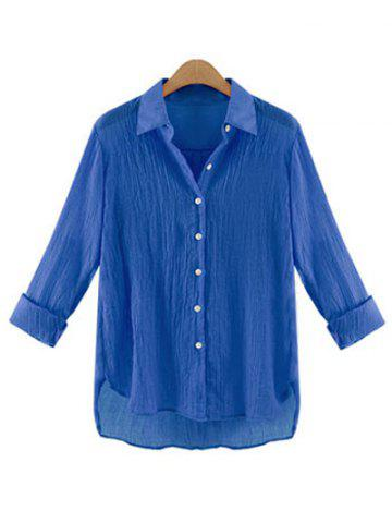 Gauzy Pure Color High Low Shirt For Women