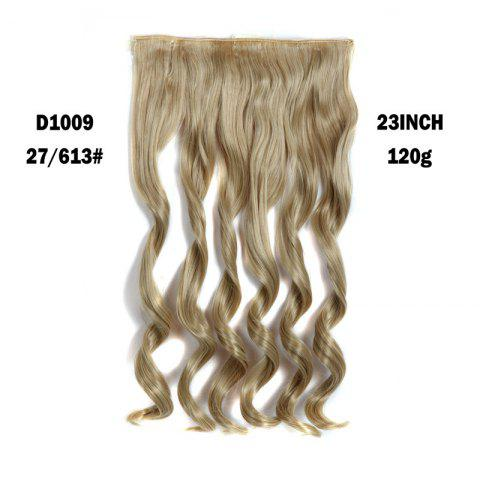 Trendy Fashion Long Capless Fluffy Wavy Clip In Women's Synthetic Hair Extension - GOLDEN BROWN WITH BLONDE  Mobile