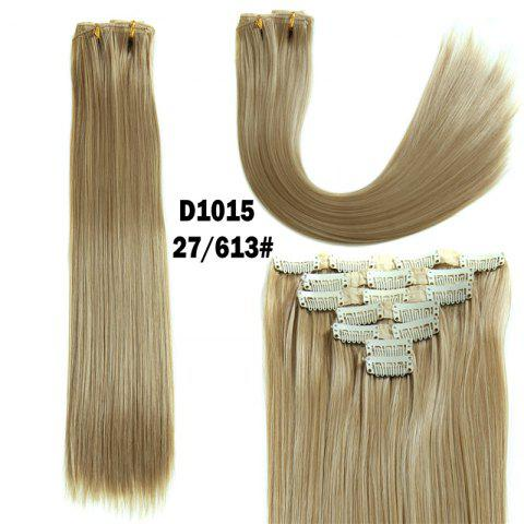 Hot Long Straight Clip-In Synthetic Stylish Hair Extension For Women - GOLDEN BROWN WITH BLONDE  Mobile
