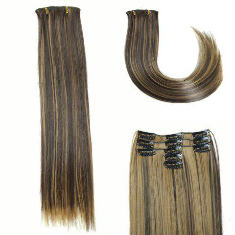 Outfits Glossy Long Straight Clip-In Synthetic Hair Extension For Women COLORMIX