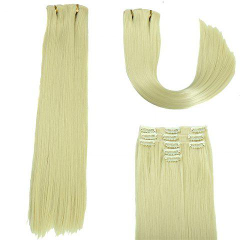 Unique Glossy Long Straight Clip-In Synthetic Hair Extension For Women - OFF-WHITE  Mobile