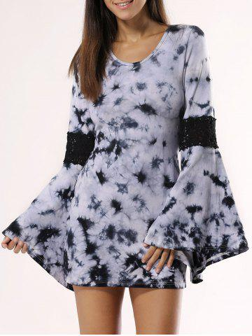 Unique Flare Sleeve Printed Mini Dress For Women BLACK 2XL