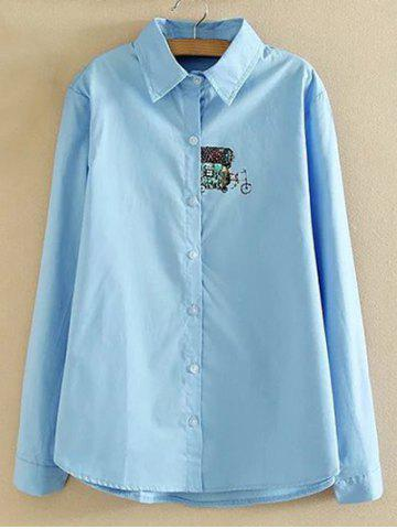 Hot Oversized Embroidered Long Sleeves Shirt LIGHT BLUE XL