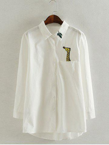 Latest Long Sleeve Casual Oversized Giraffe Embroidered Shirt WHITE 4XL