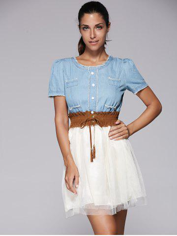Outfits Elegant Short Sleeve Denim Splicing Chiffon Dress With Belt For Women