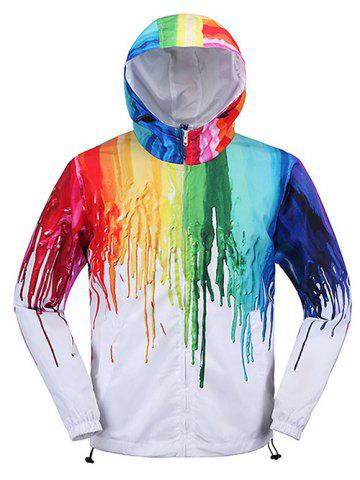 Fancy Different Color Paint Dripping Zip Up Hooded Jacket For Men WHITE XL