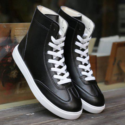 Outfits Casual Solid Color and Lace-Up Design Boots For Men - 44 BLACK Mobile