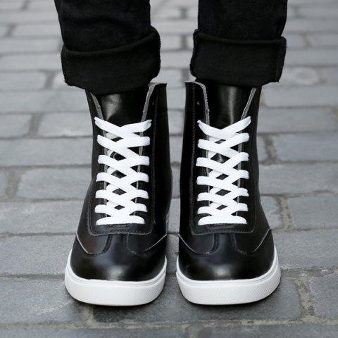 Latest Casual Solid Color and Lace-Up Design Boots For Men - 44 BLACK Mobile