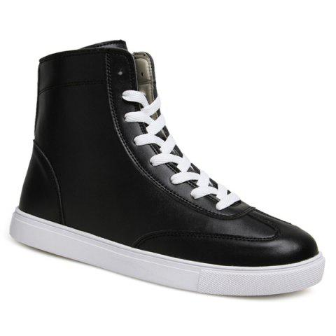 Online Casual Solid Color and Lace-Up Design Boots For Men - 44 BLACK Mobile