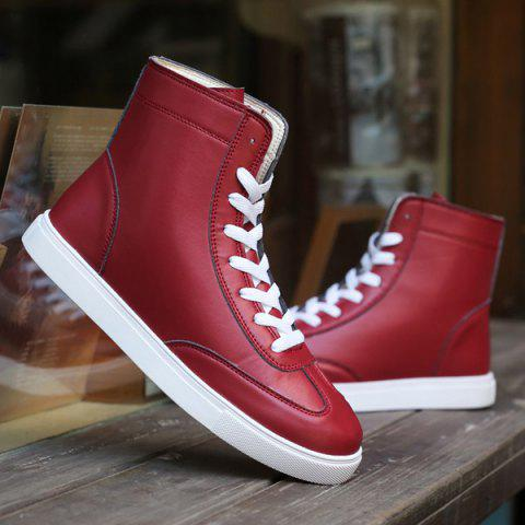 Discount Casual Solid Color and Lace-Up Design Boots For Men - 41 CLARET Mobile