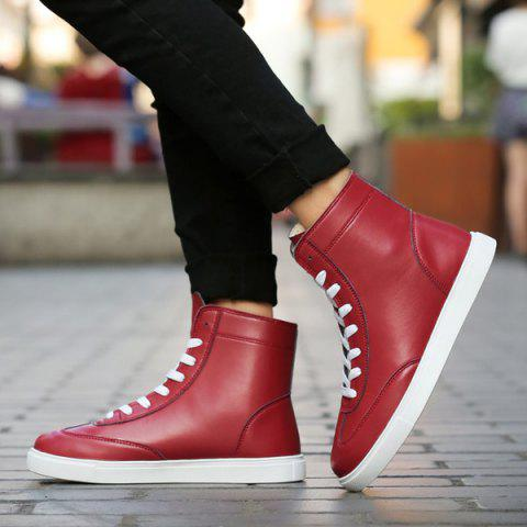 Chic Casual Solid Color and Lace-Up Design Boots For Men - 41 CLARET Mobile