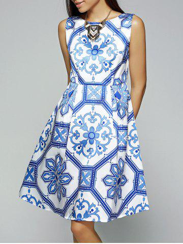 Shop Vintage Slash Neck Sleeveless Printed Dress
