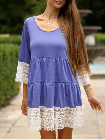 Chic Leisure U-Neck 3/4 Sleeve Lace Splicing Loose-Fitting Women's Dress