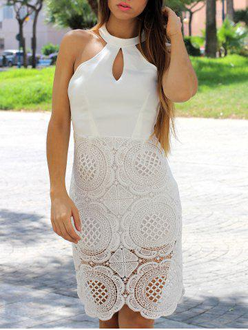 Outfits Elegant Halter Sleeveless Hollow Out Solid Color Women's Dress