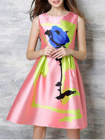 Unique Sweet Round Neck Sheeny Printed Women's Dress