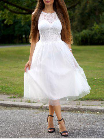 Hot Fashion Round Neck Short Sleeve Lace Splicing A-Line Dress For Women