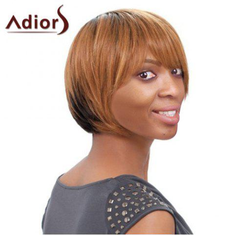 New Short Side Bang Straight Mixed Color Women's Faddish Adiors Synthetic Hair Wig COLORMIX