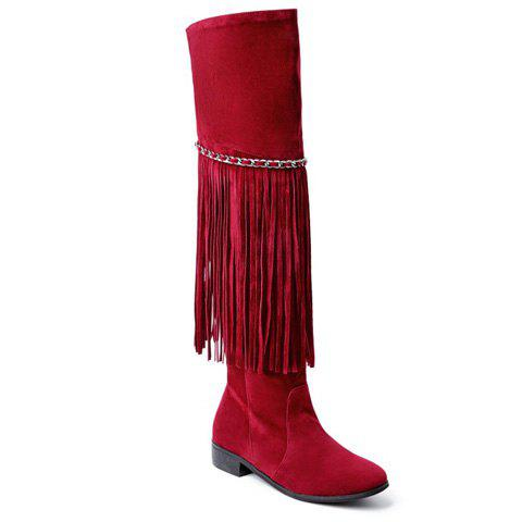 Trendy Fringe and Chains Design Thigh High Boots For Women - Wine Red - 39