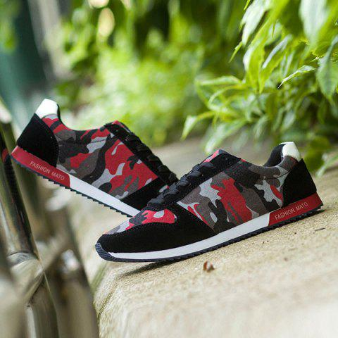 Online Fashion Splicing and Camouflage Pattern Design Athletic Shoes For Men - 42 RED WITH BLACK Mobile