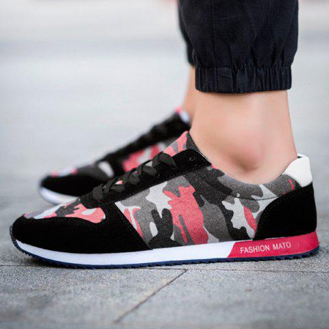 Outfit Fashion Splicing and Camouflage Pattern Design Athletic Shoes For Men - 42 RED WITH BLACK Mobile