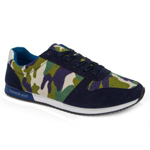 Cheap Fashion Splicing and Camouflage Pattern Design Athletic Shoes For Men - 43 DEEP BLUE Mobile