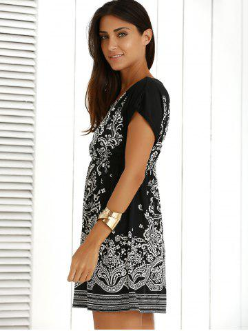 Best Casual Ethnic Summer Mini Dress - ONE SIZE BLACK Mobile