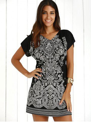 Buy Casual Ethnic Summer Mini Dress - ONE SIZE BLACK Mobile