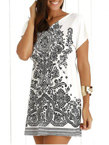 Sale Casual Ethnic Summer Mini Dress WHITE ONE SIZE