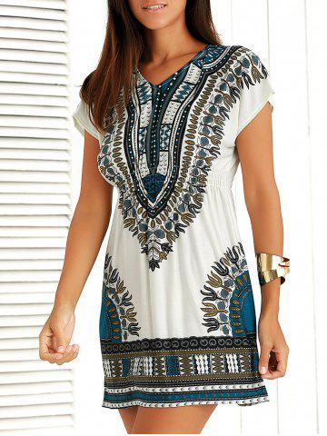 Fashion Casual Ethnic Summer Mini Dress BLUE ONE SIZE