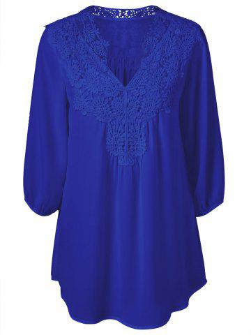 Fancy Plus Size Sweet Crochet Spliced Tunic Blouse - SAPPHIRE BLUE XL Mobile
