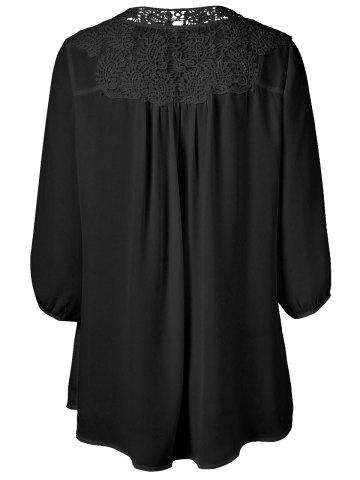 Chic Plus Size Sweet Crochet Spliced Tunic Blouse - BLACK XL Mobile