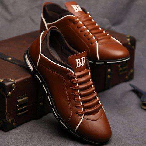 Discount Fashion Splicing and PU Leather Design Casual Shoes For Men DEEP BROWN 44
