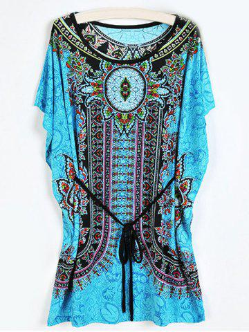 Outfit Tribal Print Shift Dress with Belt