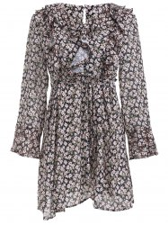 Elegant Tiny Floral Print Flounce Long Sleeve A Line Dress