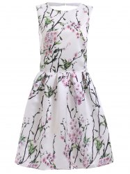 Vintage Floral Print Back Cut Out A Line Dress