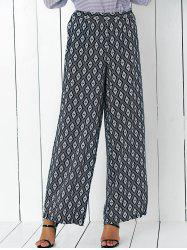High Waisted Argyle Patterned Palazzo Pants