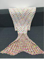 Fashion Colorful Curves Pattern Knitting Mermaid Shape Blanket - COLORMIX