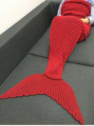 Knitting Haute Qualité Pêche Net Design Mermaid Forme Blanket - Rouge