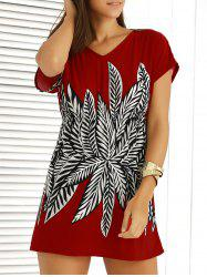Casual V-Neck Printed Elastic Waist Dress For Women - RED