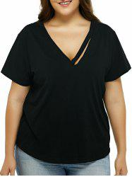 Plus Size Cut Out Black T-Shirt