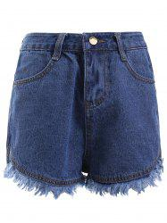 Simple Blue Pocket Fringe Denim Shorts -
