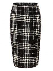High Waist Plaid Midi Pencil Skirt - BLACK