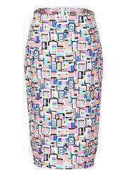 OL High Waist Hit Color Bodycon Skirt For Women - COLORMIX 2XL
