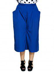 Plus Size Pockets Design Capri Dressy Palazzo Pants -