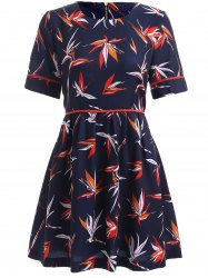 High-Waist Swallow Pattern Dress -