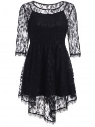 See-Through Asymmetric Half Sleeve Lace Short Dress -
